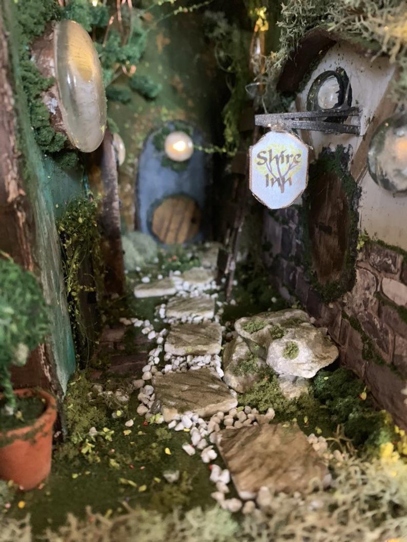 Book Nook Diorama Book Shelf Insert Bookscape Hobbit Road Booknook Gift For Book Lover Miniature Garden Diorama Bookshelf Art Book Nooks Diy Book