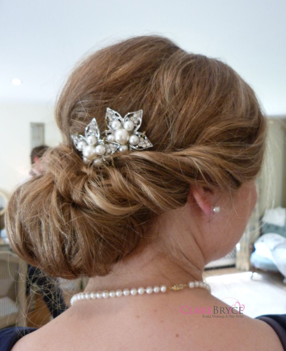 Wedding hair accessories gloucestershire - Wedding Hair Twisted Side Into Smooth Wrapped Bun Created By Clare Of Www