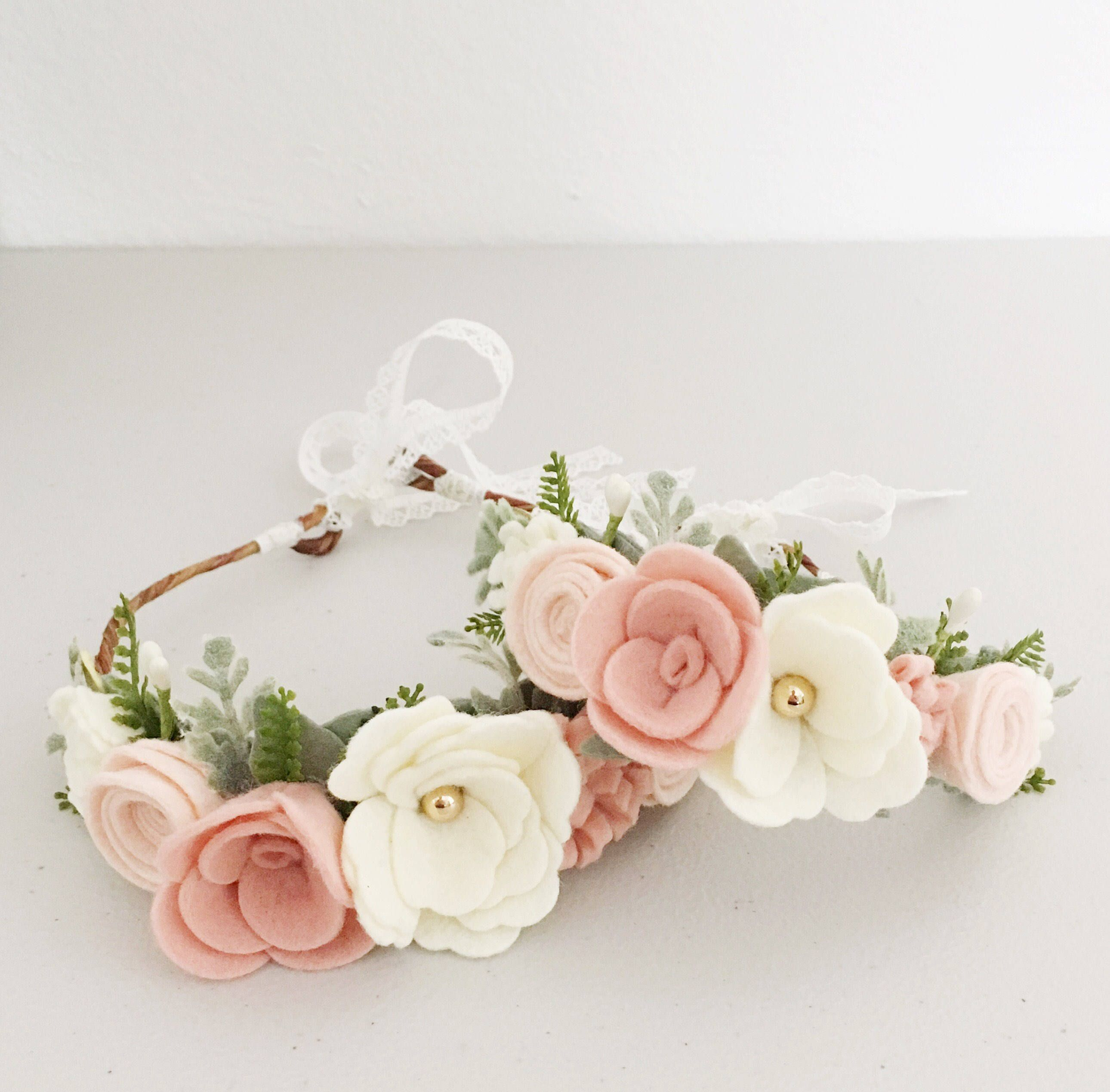 newborn headband Baby flower headband Skinny Nylon Headband baby flower crown,blush pink tieback flower crown baby photo prop