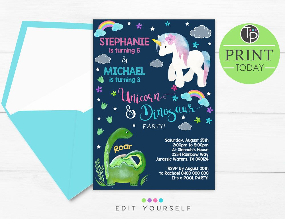 BOY GIRL INVITATION Joint Birthday Unicorn Dinosaur Invitation – Dual Birthday Party Invitations