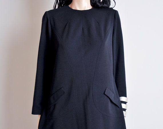 black mod mini shift dress