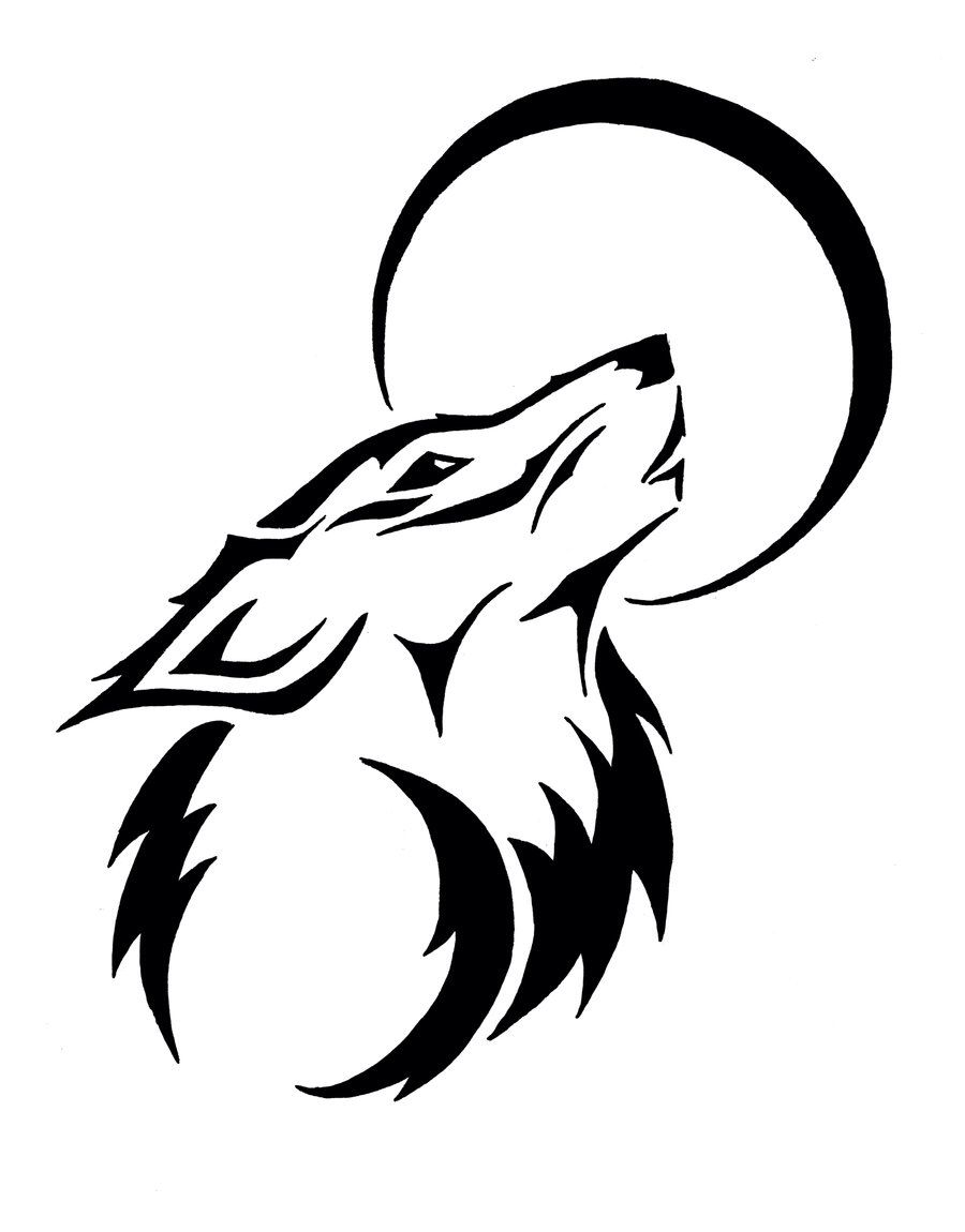 Tribal Wolf And Moon Drawing : tribal, drawing, Drawing, Tribal, Drawings,, Tattoo,
