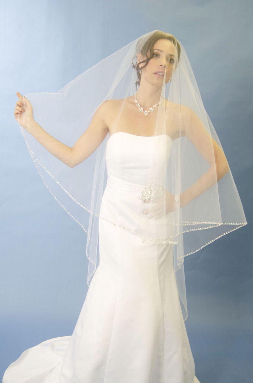 Beaded edge cage veil in walking length ansonia bridal l veil