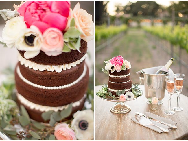 NAKED cake via StyleUnveiled.com / Sogno del Fiore Wedding Inspiration / Anna J Photography / Gorgeous Winery Wedding Inspiration