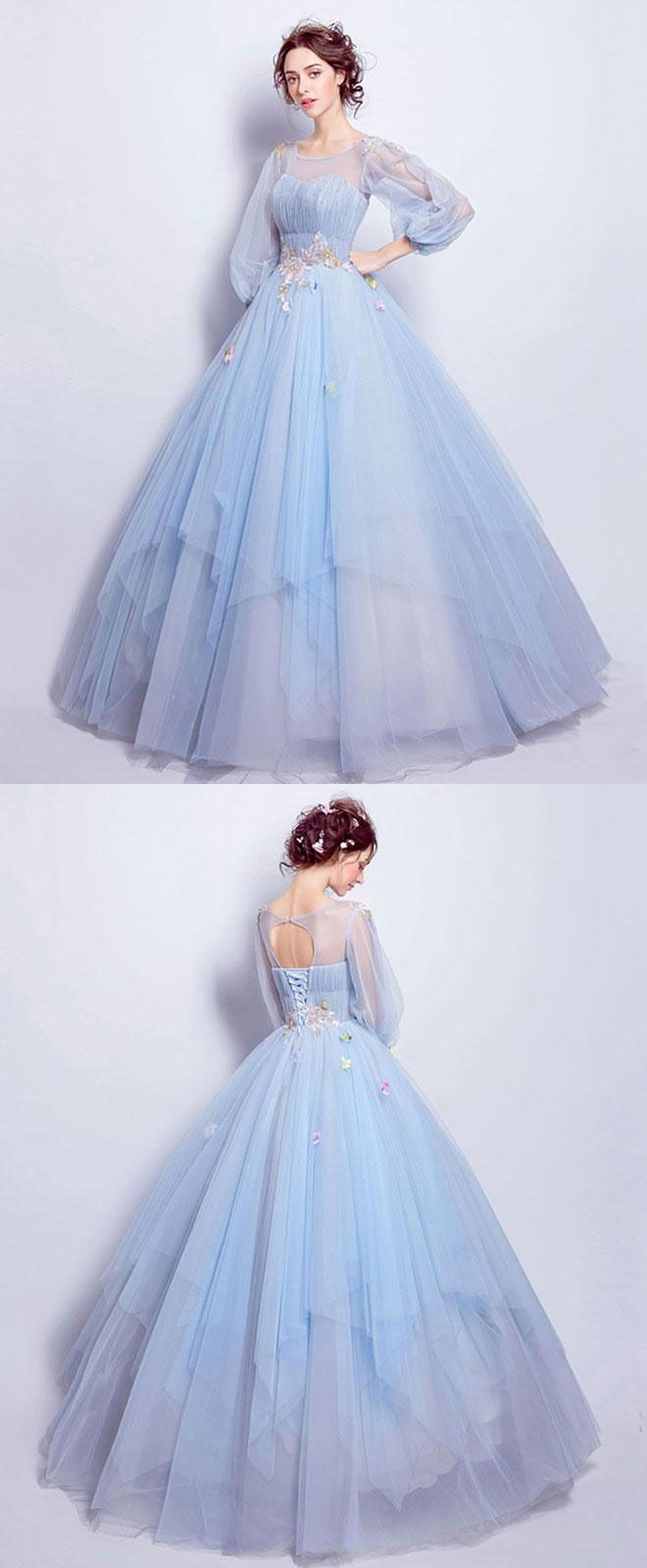 Blue round neck tulle blue long prom gown blue evening dress