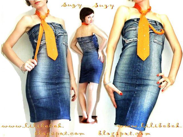 Como Hacer Un Vestido De Un Pantalon Vaquero Rediseño De Ropa Jeans Caseros Confección De Vestido