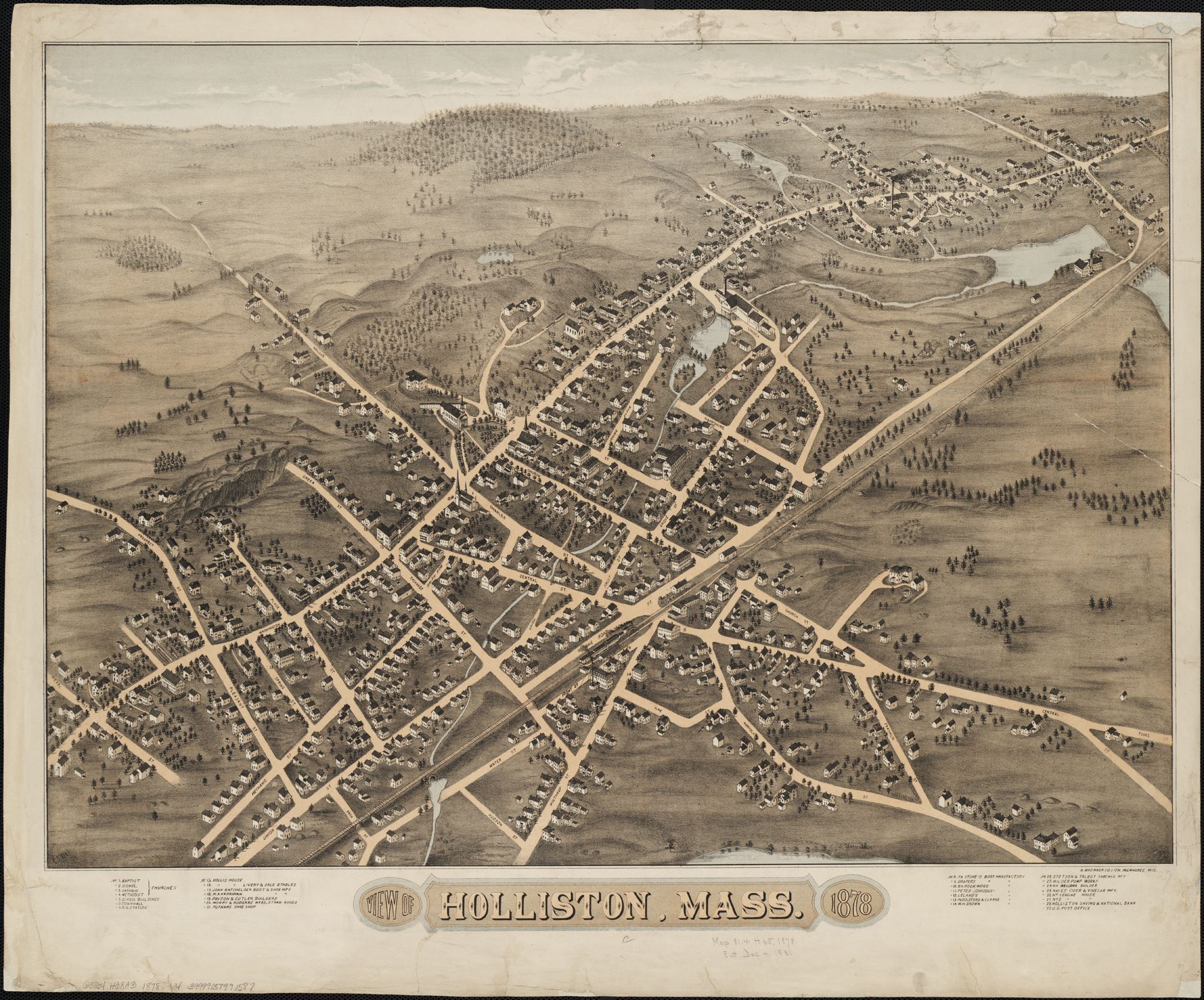 Town Map Holliston MA 1878 Town