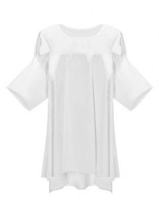 Casual Puff Sleeve Irregular Folding Front Vest Back Cotton T-shirt