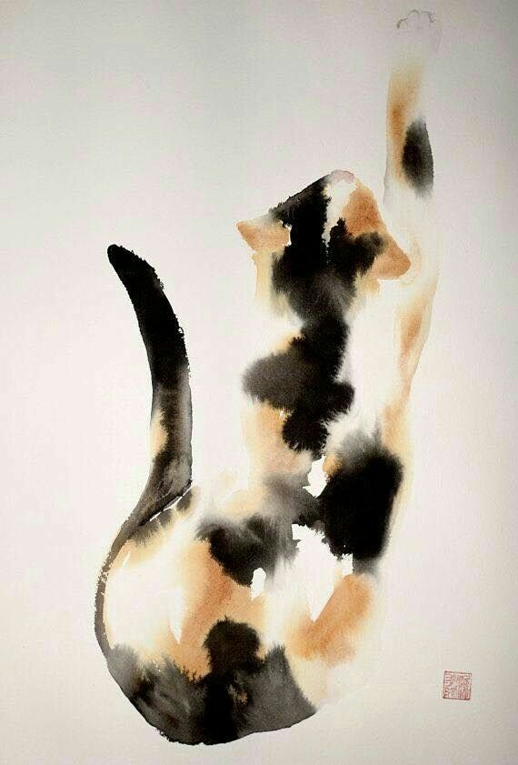 Chinese Brush Painting Of A Calico Cat Brushpainting Painting