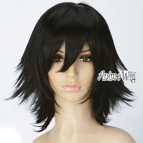 Fashion Short Layered Anime Black Unisex Boy Girl Cosplay Hair Wig Wig Cap In Wigs From Beauty Health On Alie Cosplay Hair Short Hair Styles Wig Hairstyles