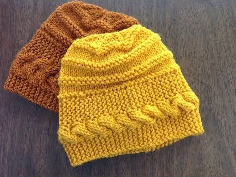 Banded Cable Hat w Ridges - YouTube  b63b19e74ef