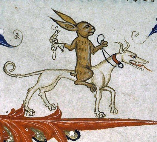 The medieval folks had a mad sense of humor. Here's a knight bunny ...