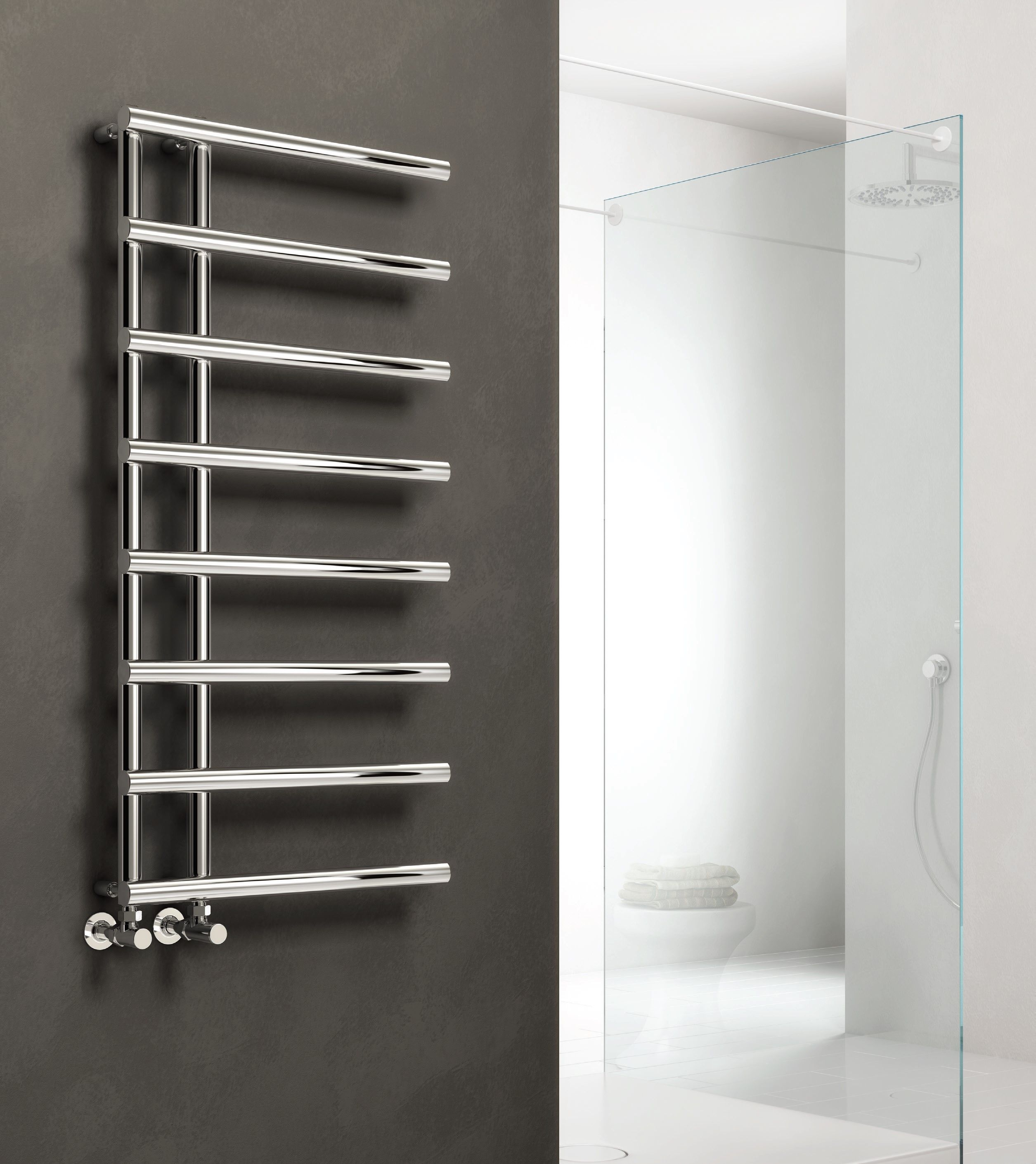 Modern Designer Chrome Straight Round Heated Towel Rail Bathroom Radiator Reina Towel Radiator Heated Towel Rail Bathroom Radiators
