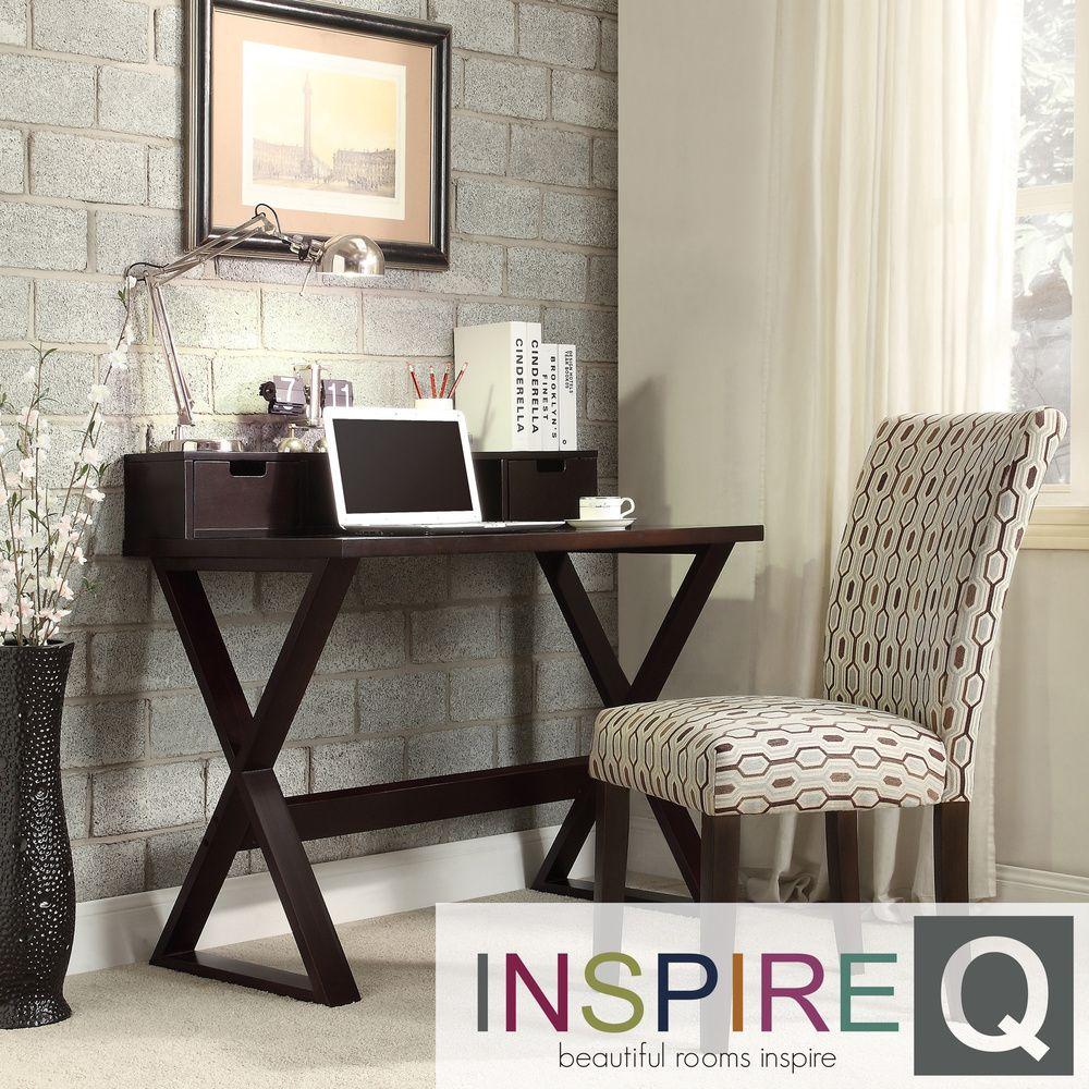 INSPIRE Q Finsbury X-base Espresso Writing Desk and Hutch