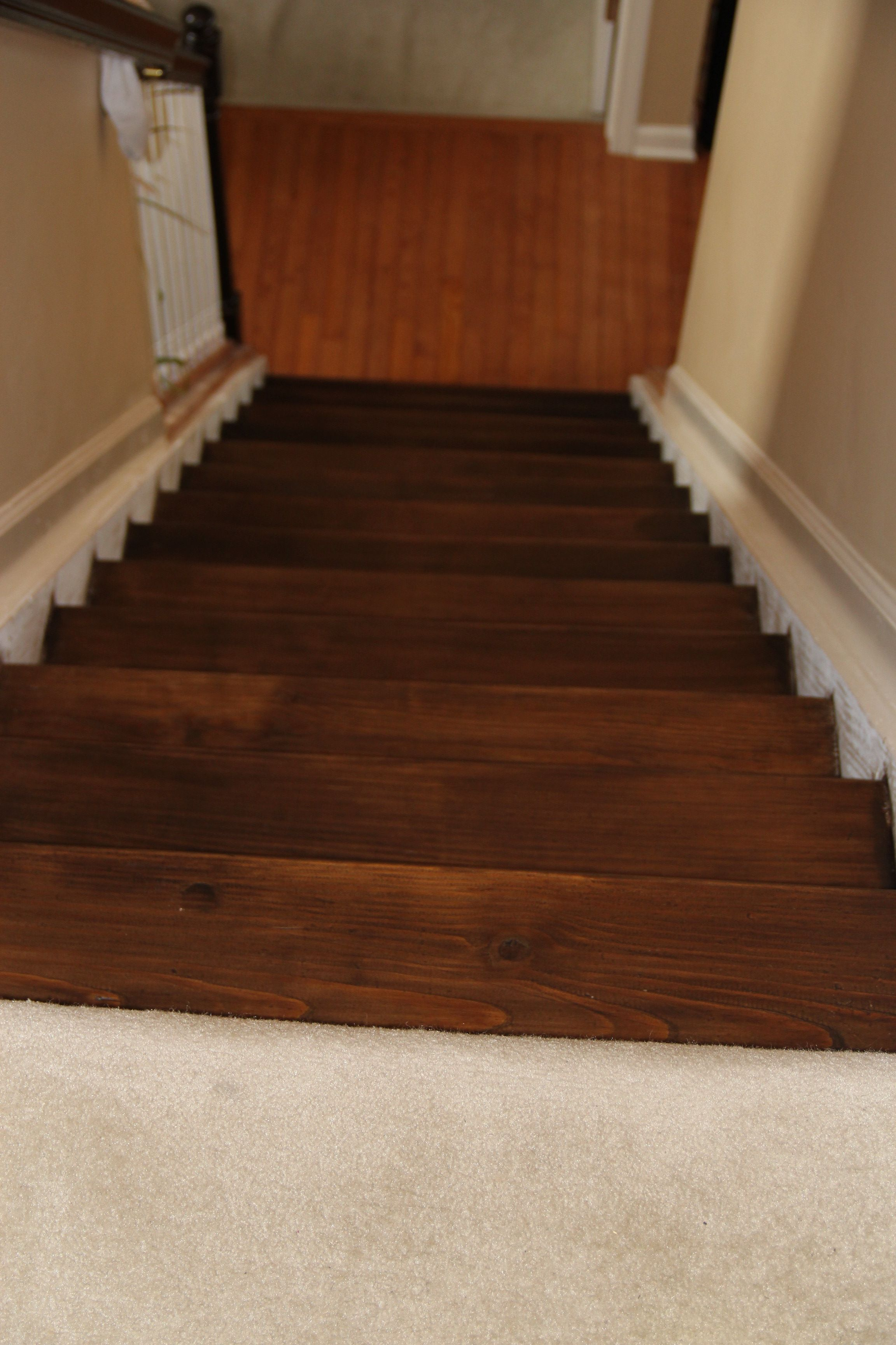 Staining Pine Stair Treads Tempting Thyme Pine Stair Treads   Wood Steps Home Depot   Flooring   Stair Railing   Carpeted Stairs   Unfinished Pine Stair   Oak Stair Nosing