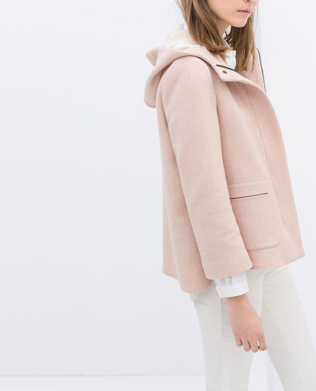 Short Wool Jacket w/Hood - by ZARA | Color: Pink #zara #nattygal ...
