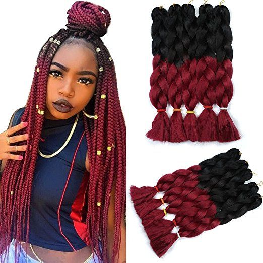 Two Tone Ombre Jumbo Braid Hair Extensions 32inch Black Wine Red