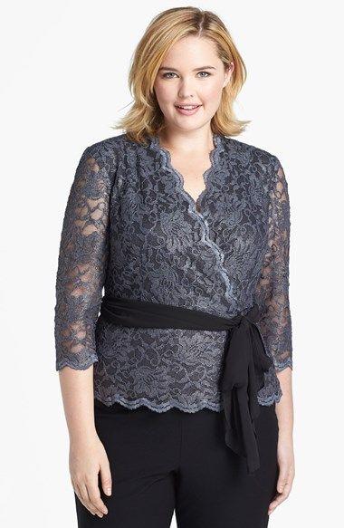 Alex Evenings Lace Faux Wrap Blouse Plus Size Nordstrom Plus Size Outfits Plus Size Fashion For Women Dressy Tops