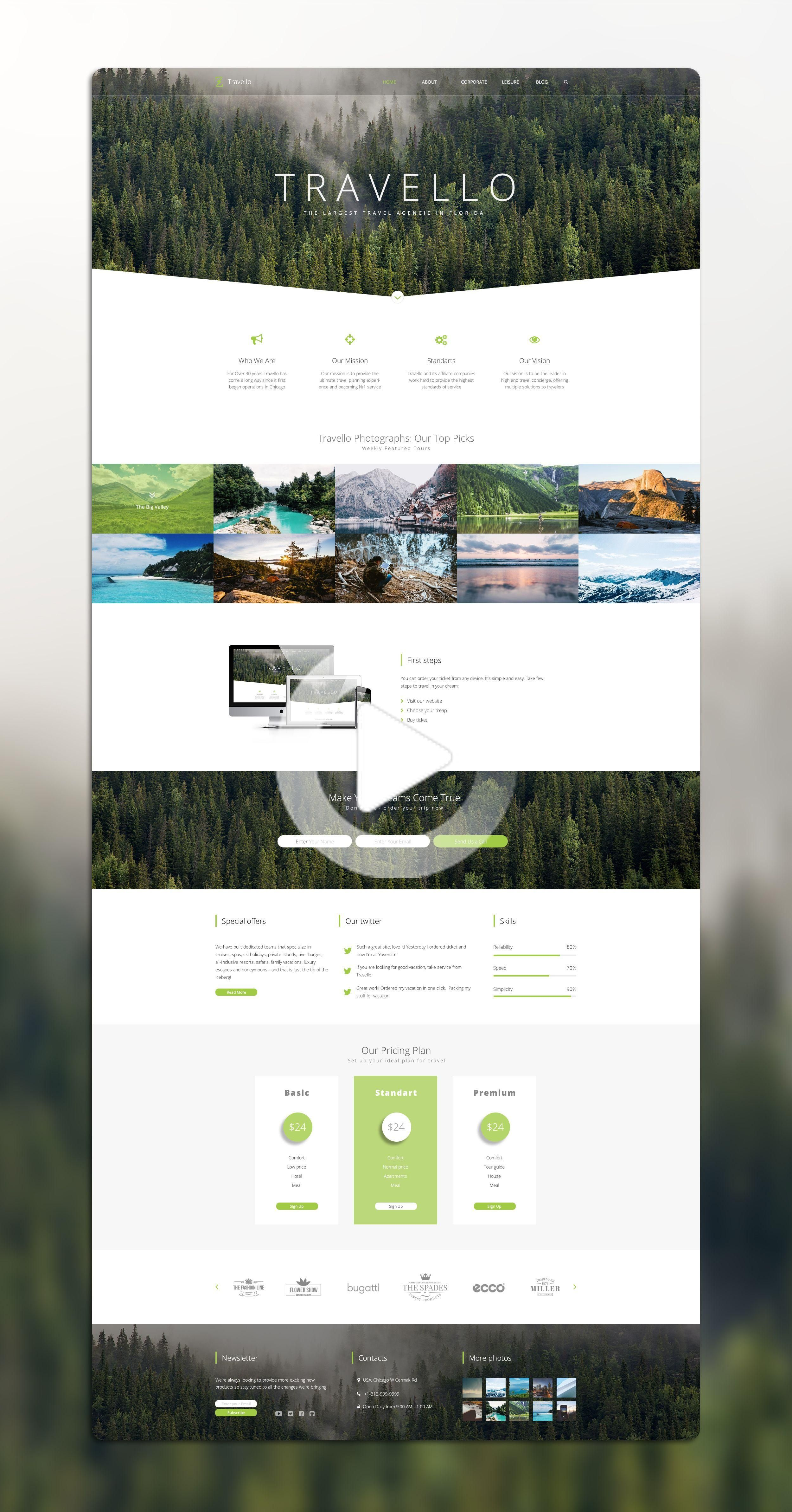 Landing Page For Travel Agencie In Florida Travello Web Design Webdesign Website In 2020 Travel Website Design Web Layout Design Flat Web Design