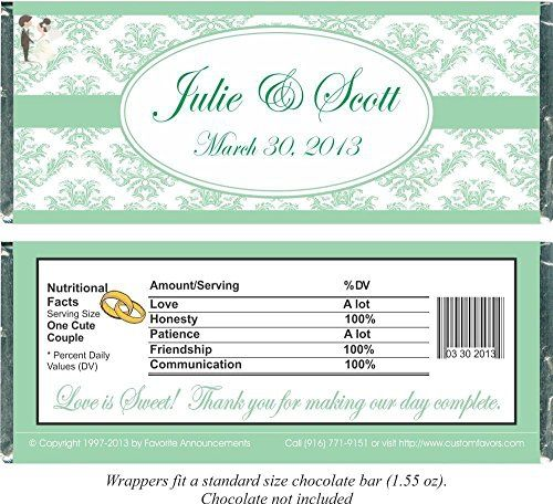 Damask Wedding Candy Bar Wrappers Fit Over Regular Size Chocolate Personalized Set