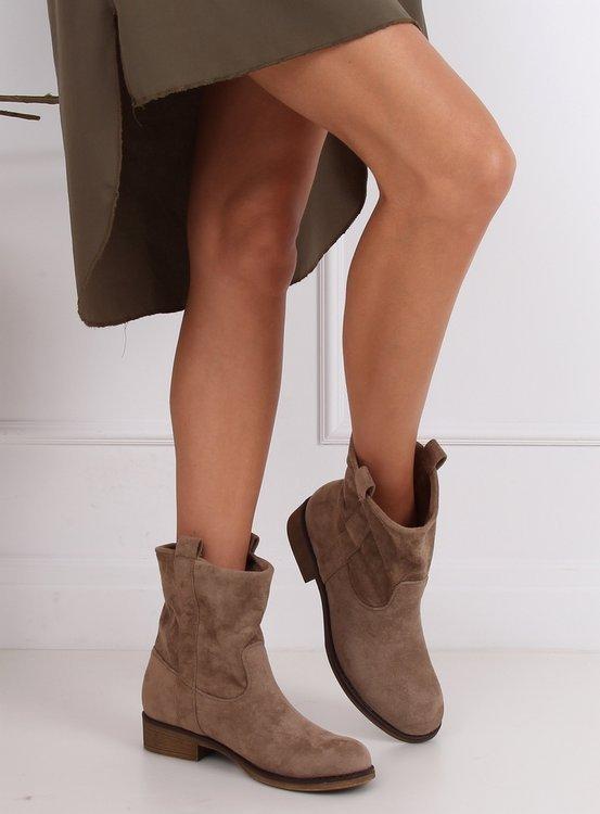 Botki Damskie Zamszowe Ciemny Bez St 18p Khaki Sklep Kupbuty Com Boots Shoes Ankle Boot