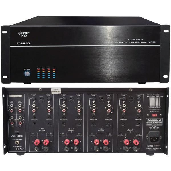 Pyle Home PT8000CH 8-Channel, 8,000-Watt Stereo/Mono Amp in