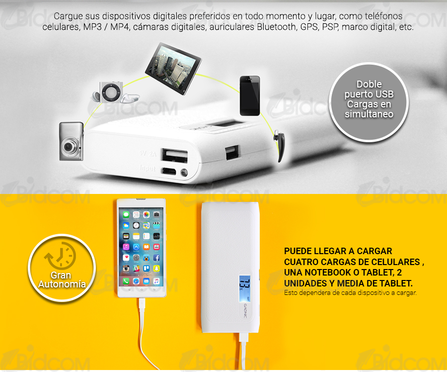 KIT Smart Power Bank Gadnic 10000 mAh + Lente ojo de pez | KIT Smart ...