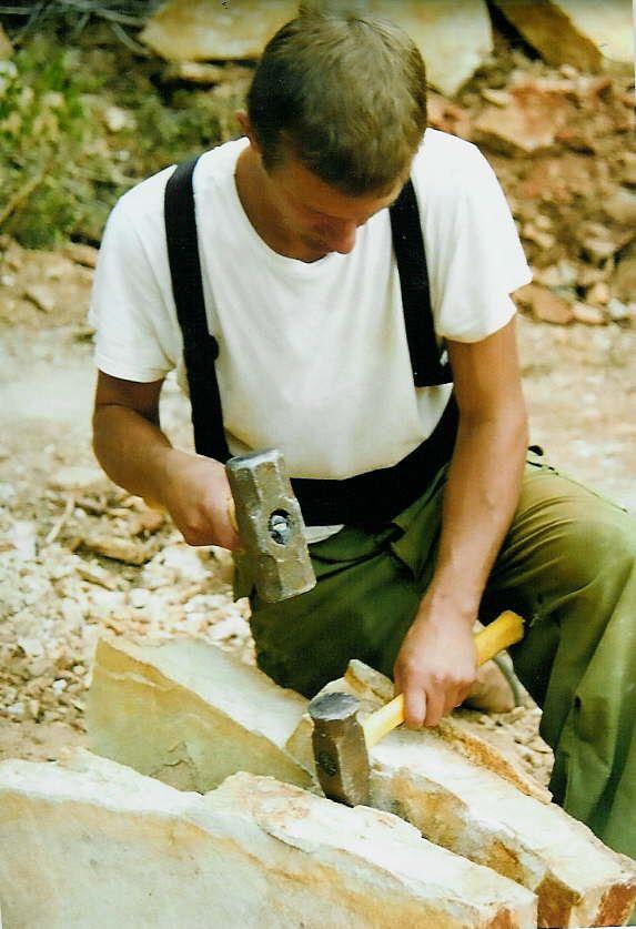 Splitting flagstone with an 8lb hammer and 4lb splitter.