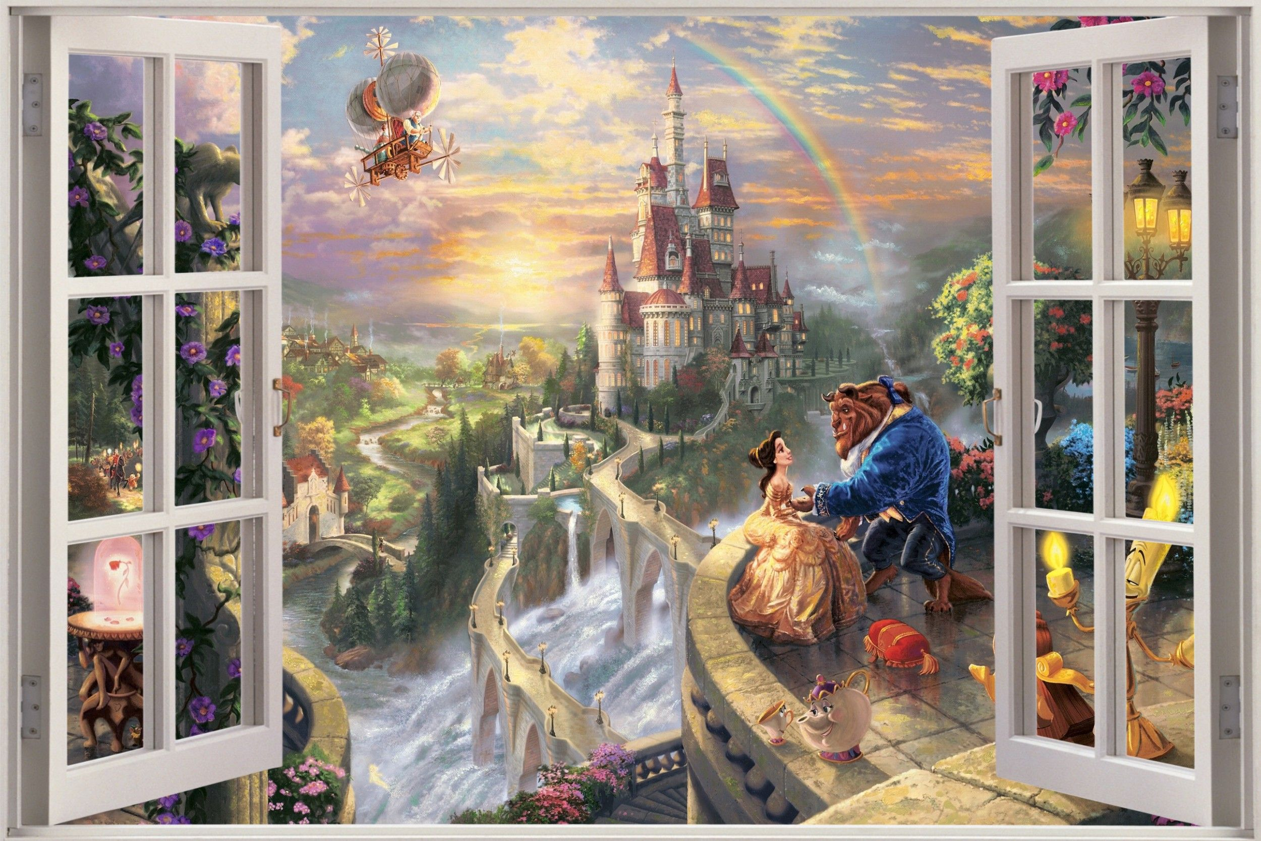 Details about huge 3d window view fantasy castle princess for Castle wall mural sticker
