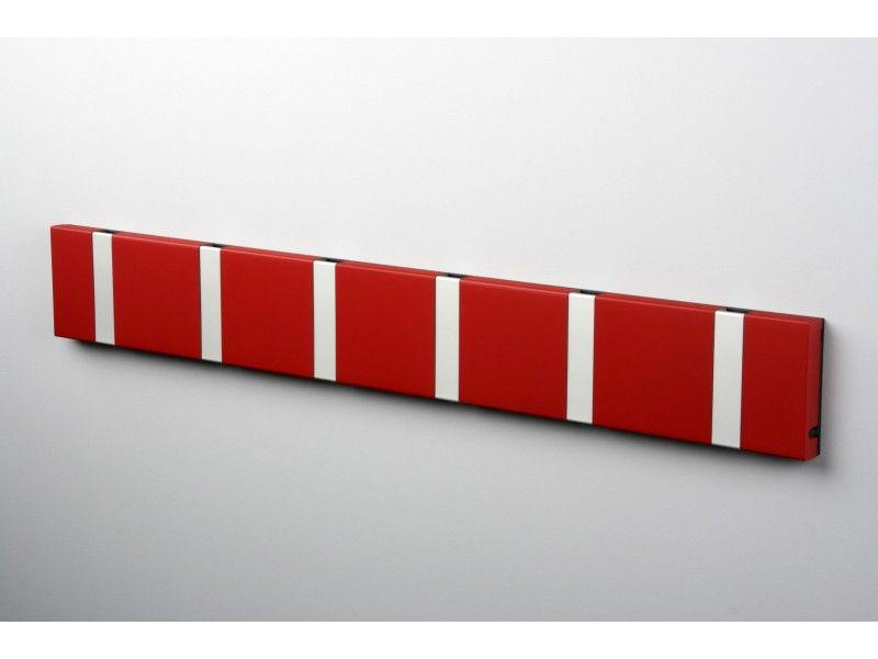 """Eng: KNAX Coat Rack in Red """"Imperial Red"""".  Handmade by LoCa - Design: Harrit & Sørensen A/S  DK: KNAX Knagerække i Rød med 6 grå alu knager. Fremstillet af LoCa Aps. Visit: KNAXShop.com"""