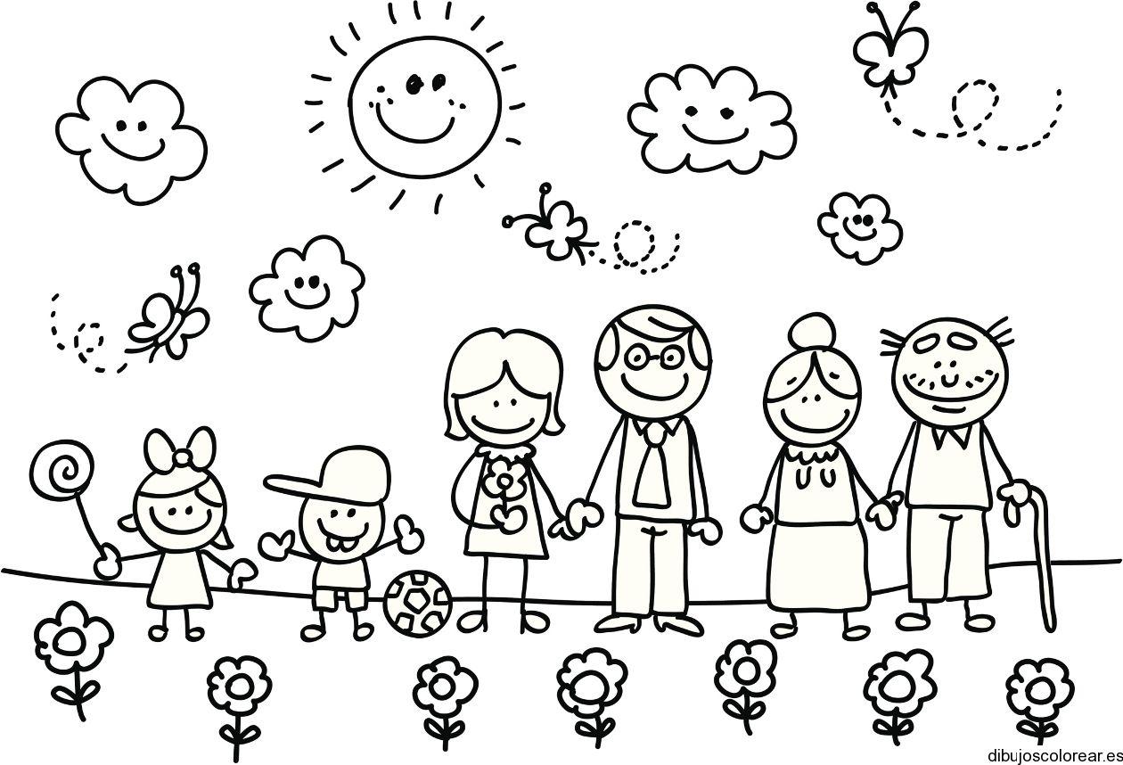 dibujos de familias para colorear - Buscar con Google | bordados ...