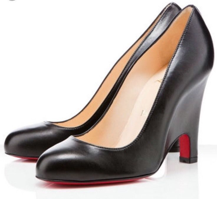 Christian Louboutin Morphing Leather Black Wedge Size 39.5 # ChristianLouboutin #PlatformsWedges