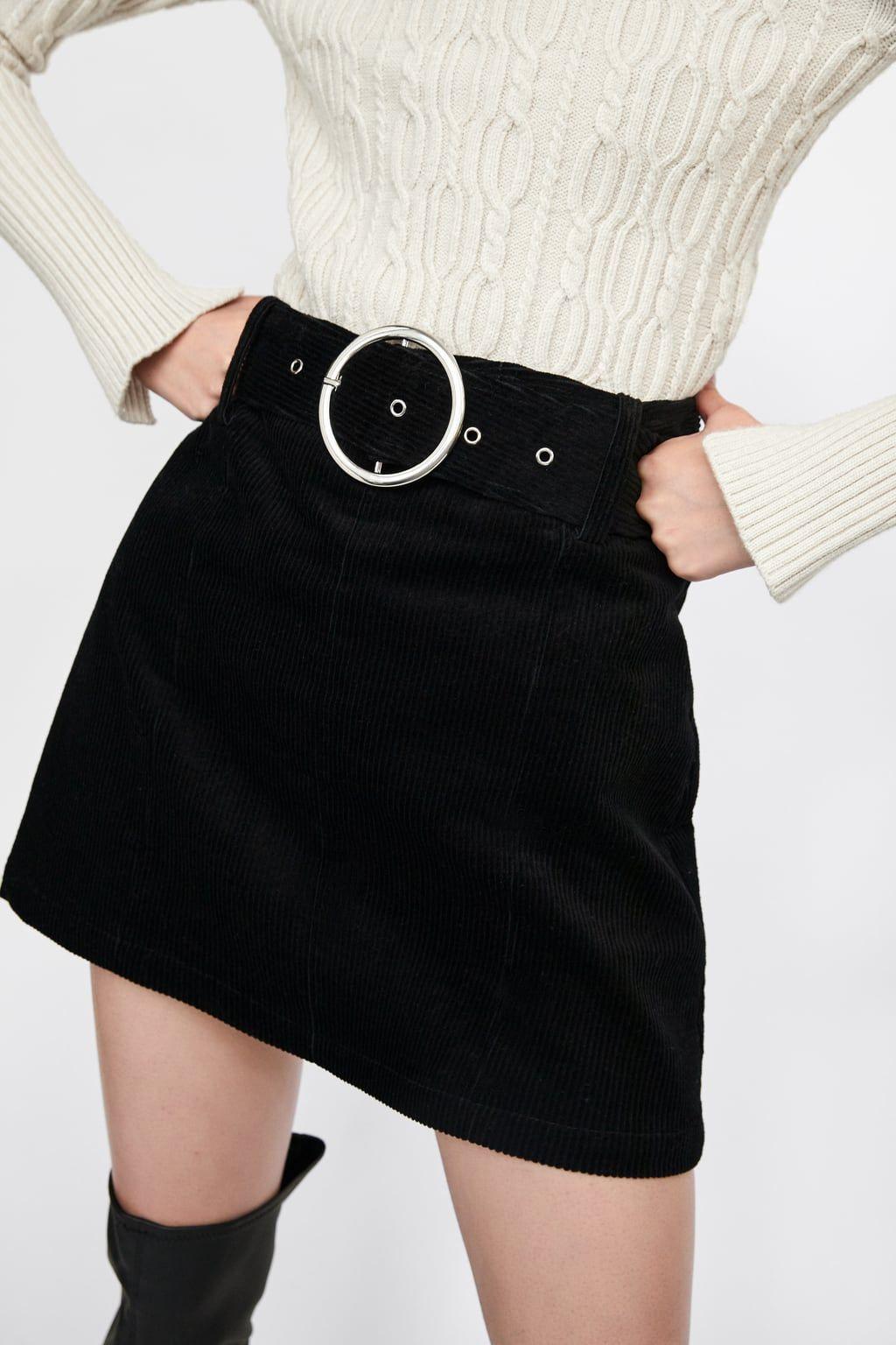 07e54825e Corduroy mini skirt with belt in 2019   半裙   Mini skirts, Skirts ...