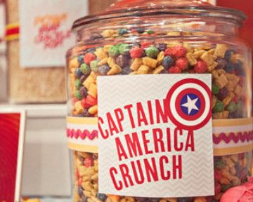 I love the Captain America Crunch goodie bag for the favors bag for each kid. Could pick up some Frankenberry and Boo Berry cereal and some cereal that is white-ish and mix them all together for a red/white & blue motif....