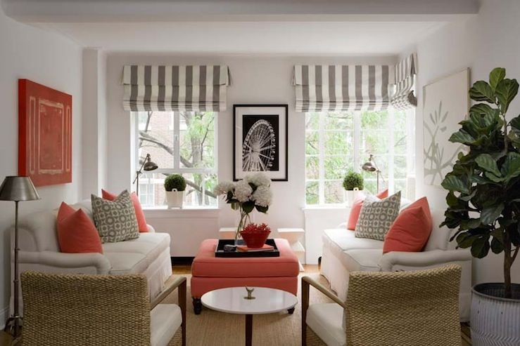 Beau Beautiful Coral And Gray Living Room Design With White U0026 Gray Striped  Custom Roman Shades, Coral Storage Ottoman, Seagrass Chairs, White Sofas,  ...