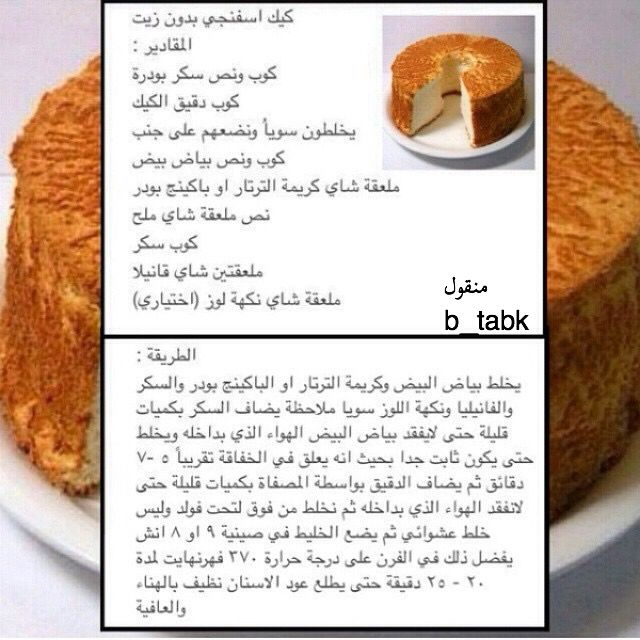 كيك بدون زيت Recipes Food Recipies Food