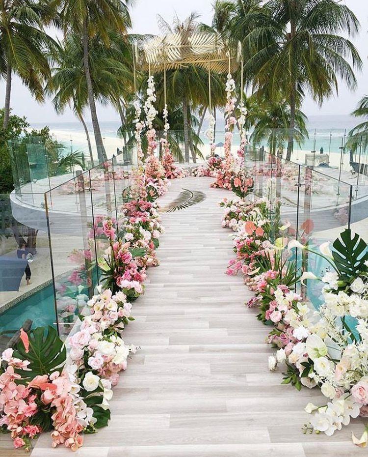 Wedding Pathway Flowers Tropical I Do Wedding Decorations