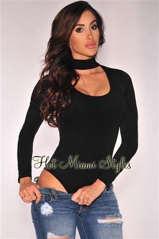 4d1e23d24 Black Choker Long Sleeves Bodysuit | pinterest wardrobe | Long ...
