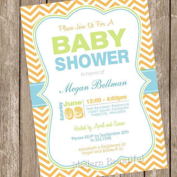 Erstaunlich Neutral Baby Shower Invitation, Chevon, Blue, Orange, Green, Printable,  Digital