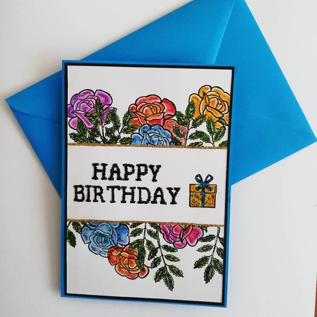 Roses Leaves Birthday Card Want To Purchase This Card Please Visit Www Allbudgetcards Com Free Uk Standard Shippi Cards Greeting Cards Handmade Budget Card