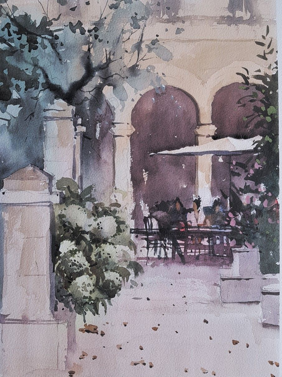 Wc Landscape Image By Josiane Painting Workshop Watercolour