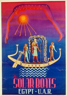 Vintage Egypt Tourism Solar Boat Poster  A3 Print