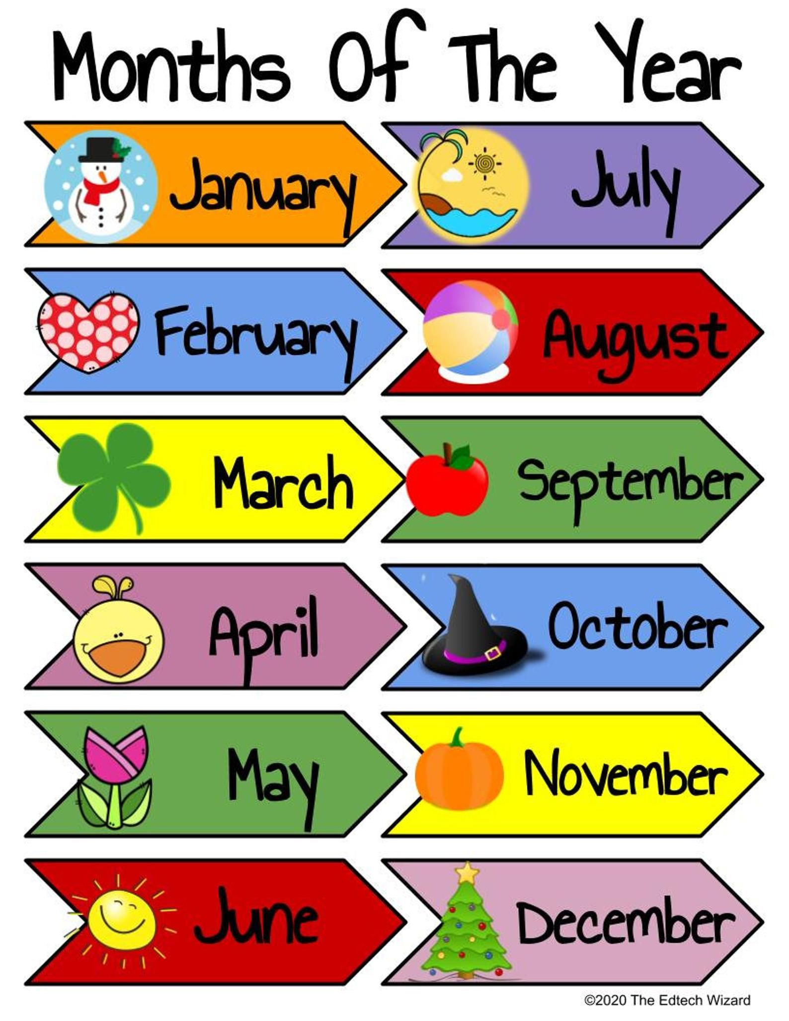 Days Of The Week Months Of The Year Printable Vipkid