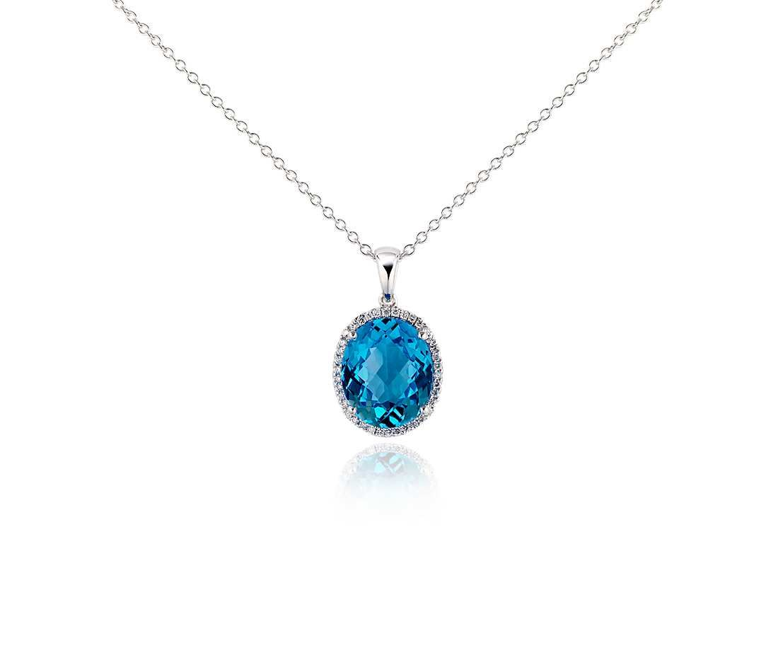 Blue topaz and diamond pendant in 18k white gold 12x10mm pendants blue topaz and diamond pendant in 18k white gold 12x10mm aloadofball Image collections