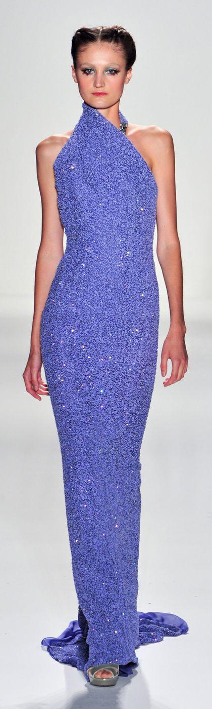 Venexiana Purple Sequin Gown NYFW 2014 ~ love the neckline design