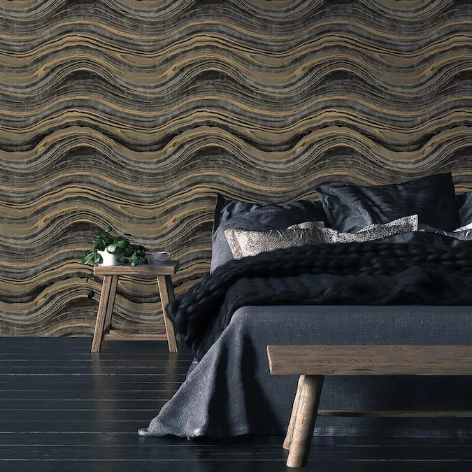 Tempaper 28 Sq Ft Black And Gold Vinyl Stone Self Adhesive Peel And Stick Wallpaper Lowes Com Travertine Removable Wallpaper Design