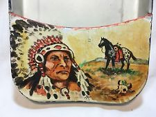 Vintage Paint Bedpan Folk Art Artist Native American Indian Chief Horse Country