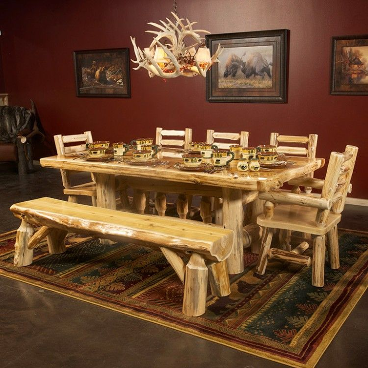 Cedar Lake Deluxe Log Table By Jhe S Furniture Place Dining