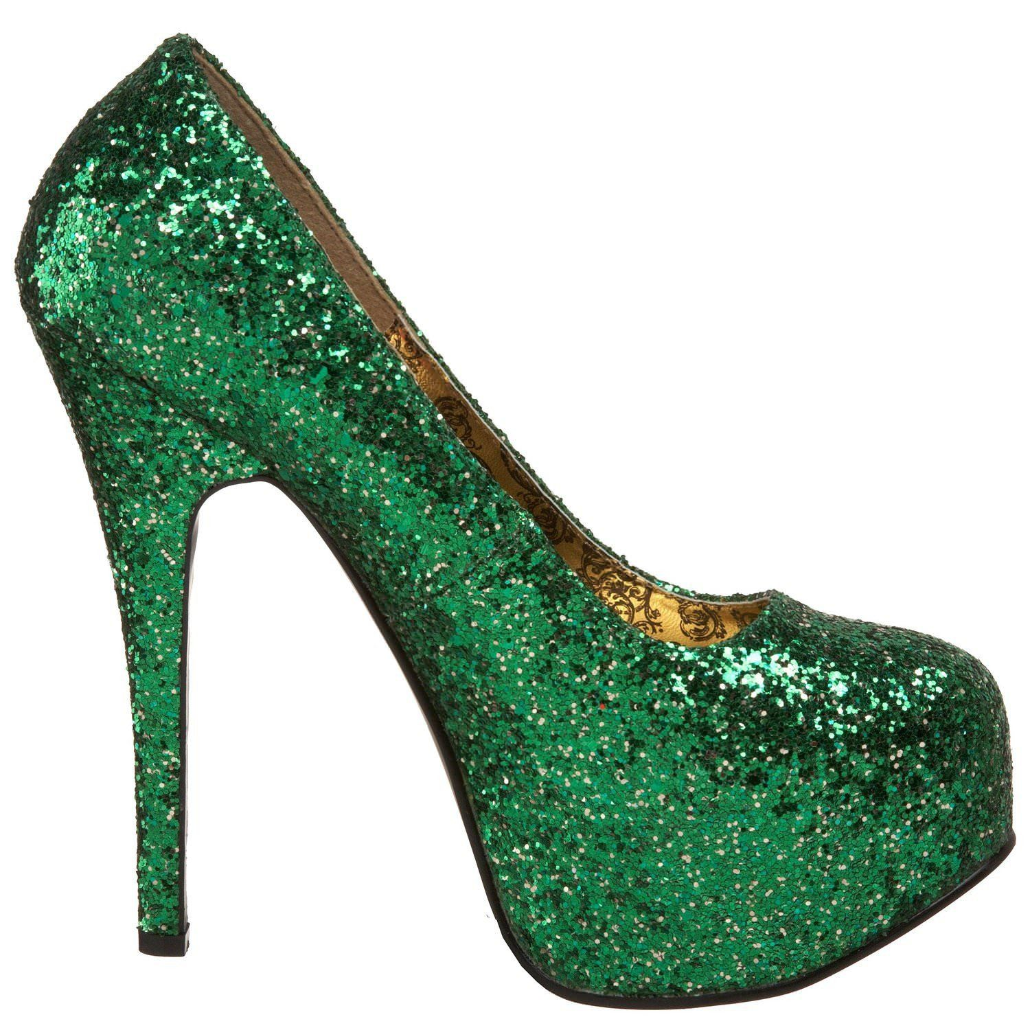 68059d3302f Bordello TEEZE-06G Green Glitter Strut and Teeze in these Closed toe ...