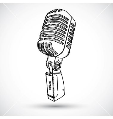 Microphone In Doodle Style Vector On Vectorstock Microphone Tattoo Old School Microphone Microphone Drawing